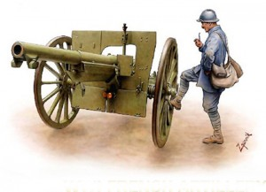 French 75 mm crop out soldier
