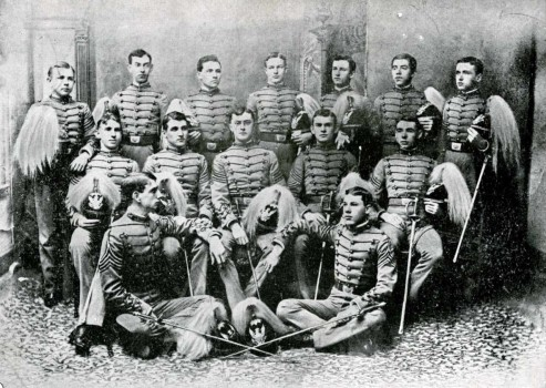 Left to Right Back Row: James Hooven, Feliciana DeMores, John Loveland, Pierce Prentiss, William Murdoch, Jose Flores, William Whitelock Middle Row: William Simpson, John Simmons, Joseph Imhoff, Walter Koethen, Julius Conrad, Front Row: William Whitaker, William Russell