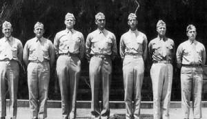 The battalion staff of 1/27. L-R: Unknown, Unknown, Capt Thomas R. Shepard, Bn-3, LTC  John A. Butler, CO, MAJ William R. Tumbelston, XO, Unknown, 1LT James T. Rain, Bn-2  Photo courtesy John A. Butler, Jr.